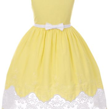 Girls Yellow Cotton Dress with Sheer Lacy Embroidery 2T-10