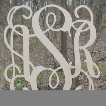 Wood Monograms,  Unfinished Monogram, Door Hanger, Door Monogram,