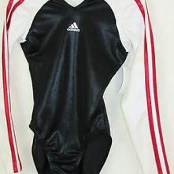 Adidas Twisting Stripe Black LS Gymnastics Leotard Hair CLG