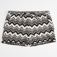 Full Tilt Chevron Print Crochet Trim Girls Shorts Black/White  In Sizes