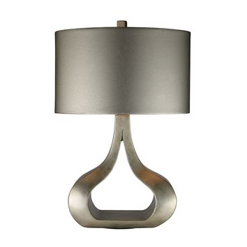 Carolina Table Lamp In Silver Leaf With Metallic Silver Shade