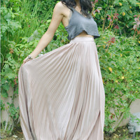 Georgina Pleated Maxi Skirt in Blush