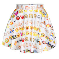 White Emoji Print High Waist Mini Skater Skirt