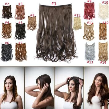 45cm Fashion Heat Resistant Synthetic Clip In Hair Pieces Natural Curly Wavy Hair Extensions