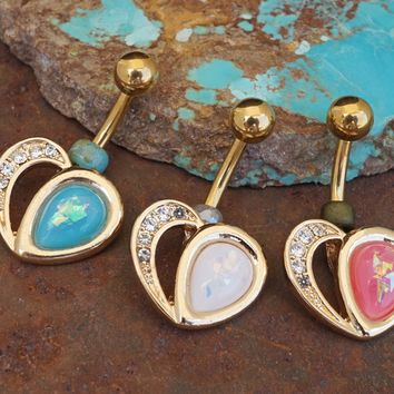 Gold Opal Heart Belly Button Navel Ring
