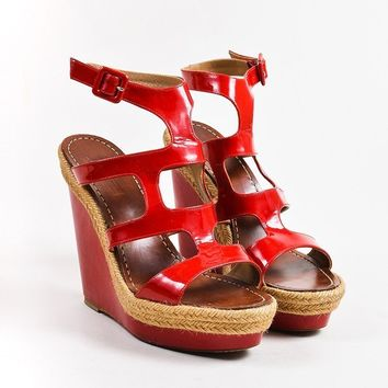PEAP3D5 Christian Louboutin Red Patent Leather Salamanca 120 Espadrille Wedges