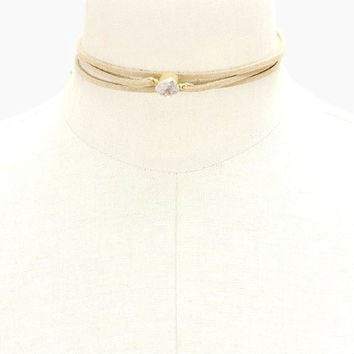Beige Suede Leather Triple Layer Natural Druzy Stone Choker Necklace