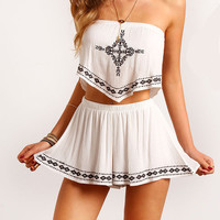 Trendy Strapless Crop Top and Shorts Combo Outfit
