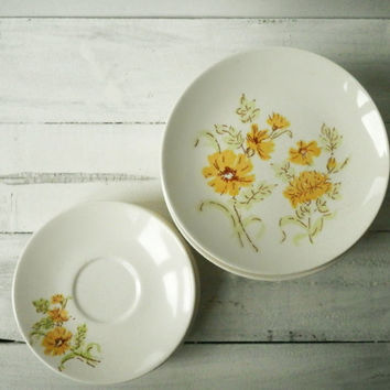 Yellow Floral Plates, Vintage Plate Set, Teacup Saucers, Salad and Dessert Plates, Holiday Entertaining, Shabby Chic, Rustic Kitchen