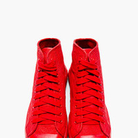 RED LIZARDSKIN HIGH-TOP SNEAKERS