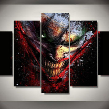 New 5 Piece canvas art The Joker Batman Comics Wall decorations for home Canvas Picture Art HD Print Painting Canvas Art\J0713
