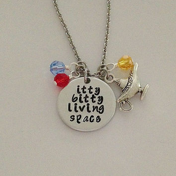 "Disney inspired Aladdin necklace ""itty bitty living space"" Genie Jasmine hand stamped with swarovski crystals and genie lamp charm"