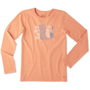 Women's Happy Camper Long Sleeve Crusher Vee