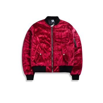 Creased Velvet Lightly Padded Bomber Jacket Kanye West Outwear Hiphop Aviator Jacket Streetwear