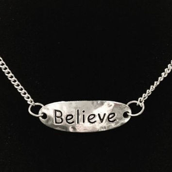 Believe Inspirational Motivational Word Charm Necklace
