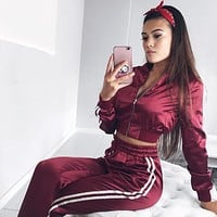 Fashion Women Top Jacket Pants Sweatpants Set Two-Piece Sportswear