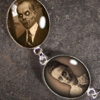 Haunted Mansion Ghosts & Zombies Silver and Glass Charm Bracelet BR-07