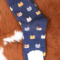 Kitty Cat Ankle Sock, Navy