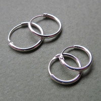 Sterling Silver Hoop Huggie Earrings 10mm / 12mm - Small Hinged Hoops for Men / Women, 7mm Hoops / Cartilage / Helix / Medium Hoops