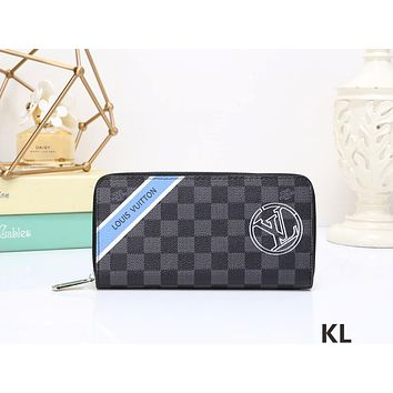 LV Louis Vuitton checkerboard limited edition badge v-fold long wallet men's wallet purse F-WMXB-PFSH #2