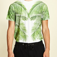 Mirrored Botanical Tee White/Green