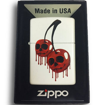 Zippo Custom Lighter - Skull Cherries - Regular White Matte 214-CI404188