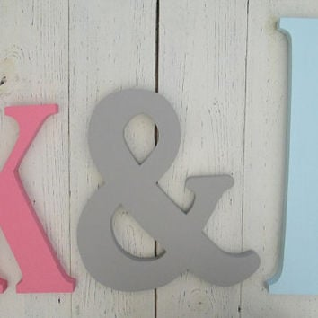 Nursery Decor, Wooden Lower Case Letters, 12 inch Wall Letters, Custom Colors, Hang on the wall,  Many Colors to pick from or custom color