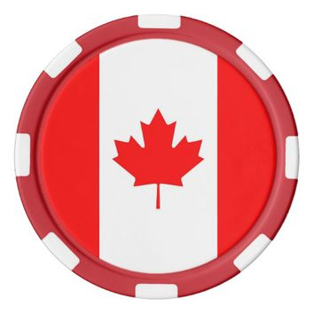 Poker chips with Flag of Canada