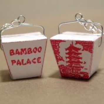 Mini Chinese Take Out Box Earrings by charlieccbb on Etsy