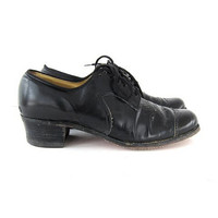 1950s Black Leather Shoes. 50s lace up oxfords.