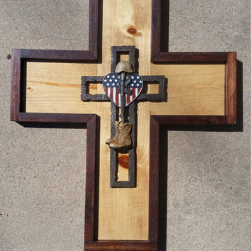 Large wood cross, Veteran Cross, Military cross, Army Cross, Rustic Home Decor, Wood Cross, Wood Wall decor, Wood Home Decor, Wood Cross