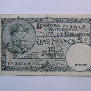 1938 Belgium Belgique België 5 Cinq Francs Vyf Frank Banknote P-108 King Albert and Queen Elisabeth on front and Factory Worker on Reverse