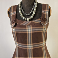 70's Vintage Sun Dress Pinafore Brown Plaid Prairie Girl Vicky Vaughn