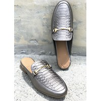 Fabian Leather Loafer Mule - Gunmetal