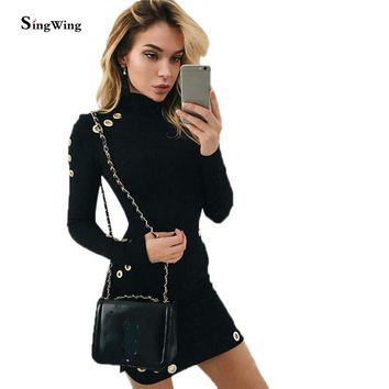 Women Turtle Neck Package Hips Dresses Long Sleeve Sheath Dresses Sexy Casual Women dress