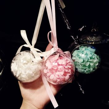 7cm Acrylic Ball Eternal Flowers Creative Car Pendants Hand Made Romantic Charm Auto Rear View Mirror Decoration Ornament Gift