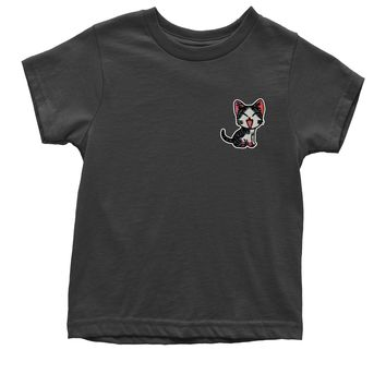 Embroidered Red Cat Patch (Pocket Print) Youth T-shirt