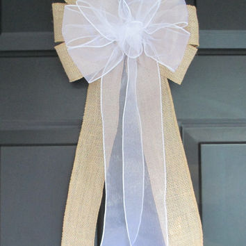 Sheer over Natural Burlap Bow, White Ivory Pink, Wedding Decor, Church Pew Aisle Chair, Party Bridal Baby Shower, Shabby Chic Rustic, Home