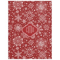 Burgundy Red & White Christmas Snowflakes Fleece Blanket