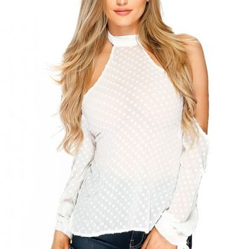 Sexy White Sheer Mock Neck Embroidered Long Sleeve Casual Top