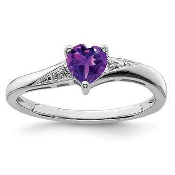 Sterling Silver Amethyst Heart and Diamond Ring