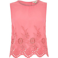 River Island Womens Pink crepe embroidered hem tank top