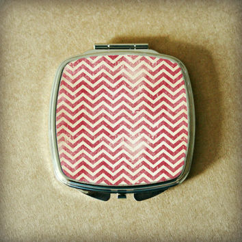 COMPACT MIRROR with RED Sublimated Grunge Chevron, Silver Tone Metal, Double Mirrors, Lightweight, Can Be Customized, Make Up Touch Ups