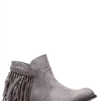 Grey Faux Suede Fringe Ankle Boots