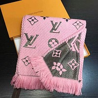 LV Trending Fashion Women Embroider Easy to match Silk Scarf Pink Grey G-TMWJ-XDH