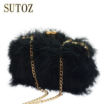 Pom Pom Feathers Evening Bags Women Purse Clutch Messenger Bags Crossbody Chain Shoulder Frame Clutch Party Evening Bag BA338