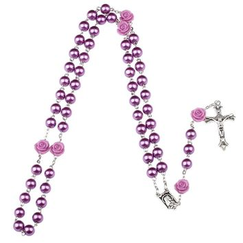 NingXiang 8mm Purple Rosary Beads Catholic Rosary Necklace For Girls Women Glass Father Bead Crucifix Pendant Necklace Rose Gift
