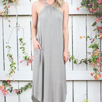 ELAN: Striped High Neck + U-Hem Maxi Dress {Navy}
