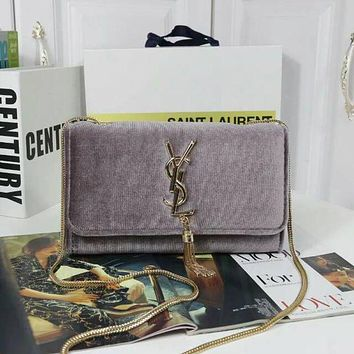 YSL lady stylish leather Messenger Messenger F Grey