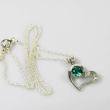 Multi-Faceted Green Cubic Zirconia Heart Pendant Necklace on Sterling Silver Chain